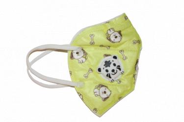 Set de 10 bucati masca faciala pentru copii cu 5 straturi si supapa ambalata individual model catei pe fond galben
