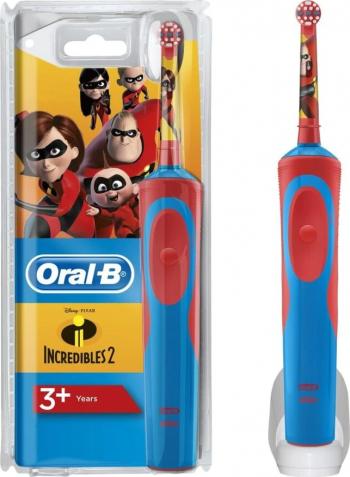 Periuta de dinti electrica pentru copii Oral-B D12.513 Vitality The Incredibles 7600 oscilatii/min Timer Curatare 3D Rosu Albastru Periute electrice si dus bucal