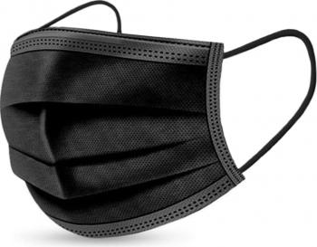 Pachet 100 de cutii X 50 de bucati masti de protectie negre 3 straturi 3 pliuri de unica folosinta negre OEM Manusi chirurgicale