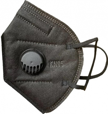 Set 10 Masti cu 5 straturi de protectie respiratorie si supapa pentru expiratie standard KN95 culoare negru BFE95