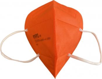 Set 3 masti de protectie calitate premium ambalate individual FFP2/KN95 din 5 straturi CE 2797 BFE95 culoare portocaliu
