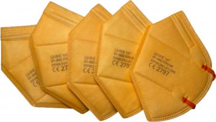 Set 5 masti de protectie FFP2/KN95 calitate premium CE 2797 BFE95 culoare portocaliu