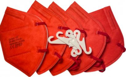 Set 5 masti de protectie FFP2/KN95 calitate premium CE 2797 BFE95 culoare rosu