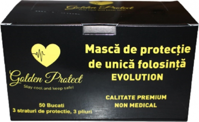 Set 50 de masti protectie negre premium Evolution Golden Protect 3 straturi 3 pliuri de unica folosinta negre OEM