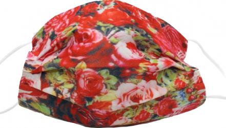 Set de 50 de masti faciale de unica folosinta culoare rosu cu trandafiri