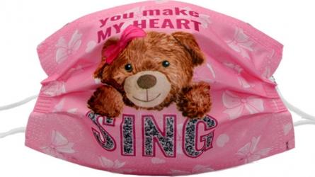 Set de 50 de masti faciale de unica folosinta model print animat roz cu ursulet si mesaj You make my heart sing