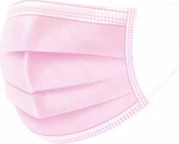 Set de 50 de masti protectie 3 straturi 3 pliuri de unica folosinta roz OEM