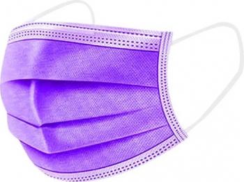 Set de 50 de masti protectie culoare mov 3 straturi 3 pliuri de unica folosinta OEM