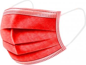 Set de 50 de masti protectie culoare rosu 3 straturi 3 pliuri de unica folosinta OEM