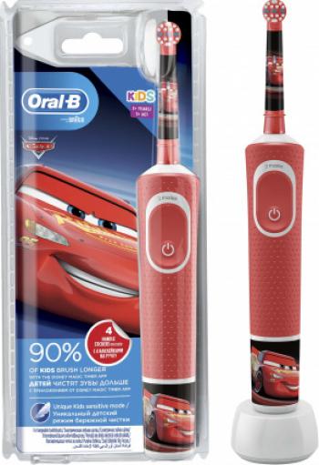 Periuta de dinti electrica Oral-B D100 Vitality Cars pentru copii 7600 oscilatii/min Curatare 2D 2 programe 1 capat Periute electrice si dus bucal