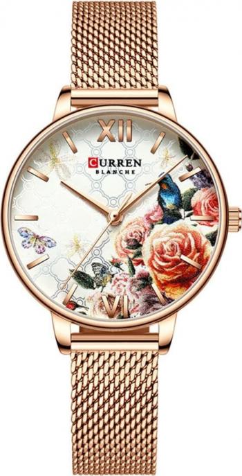 Ceas femei Curren Floral Elegant Clasic Quartz Analog Auriu