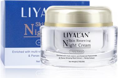 Crema de noapte LIYALAN Imbogatita cu multi-vitamine Extract de radacina Panax Ginseng Extract de canepa 50g