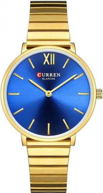 Ceas dama Curren Otel inoxidabil Analog Quartz Auriu/Albastru