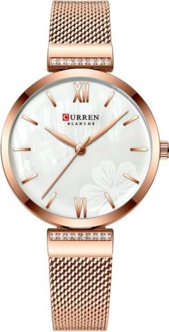 Ceas de dama Curren Elegant Quartz Analog Auriu Flori Alb