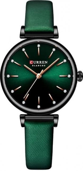 Ceas dama Curren Quartz Analog Elegant Verde Curea piele