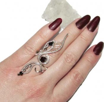 Inel Elven Rose Design Shapeshifter handmade placat argint cristale Inele
