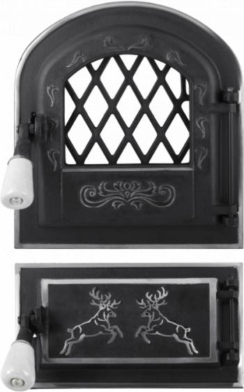 Usa Soba cu Geam + Cenusar Cerbi Ornamente Argintii / Hmm 275 Bmm 255