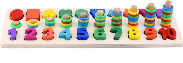 Joc educativ de lemn 3 in 1 logaritmic cifre si forme Educarici Jucarii