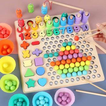 Joc lemn Montessori 5 in 1 logaritmic Plate Beads - Educarici Jucarii