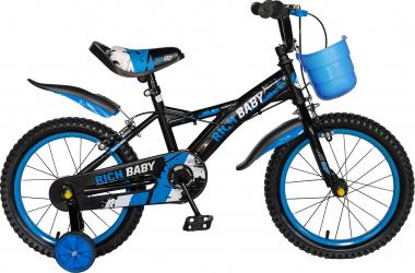 Bicicleta Baieti 4-6 Ani Roti 16 Inch Frane C-Brake Roti Ajutatoare Rich Baby CST16/04C Cadru Negru cu Design Albastru
