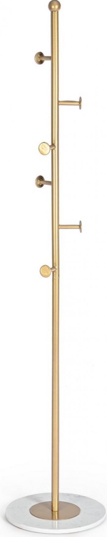 Cuier de podea cu 6 agatatori din fier auriu si baza marmura alba and Oslash 35 cm x 175 h