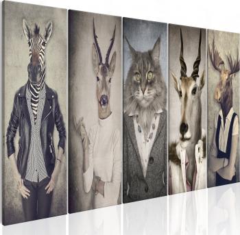 Tablou canvas 5 piese - Masti de animale I - 200x80 cm