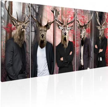 Tablou canvas 5 piese - Oameni In masti - 225x90 cm