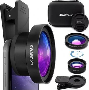 Set lentile 2 in 1 Macro si Wide pentru telefon mobil si tableta + husa protectie pentru calatorii ZWARTpro Negru Gimbal, Selfie Stick si lentile telefon
