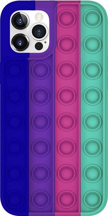 Husa PopIt G-Tech pentru iPhone 8 Plus Push Pop Bubble Fidget Jucarie antistres si husa de protectie Silica Gel Albastru-Multicolor