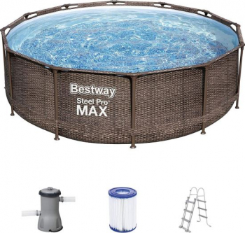 Piscina Bestway and reg Power Steel and trade Deluxe Series and trade 56709 ratan artificial cu scara pompa si filtru 3.66x1m