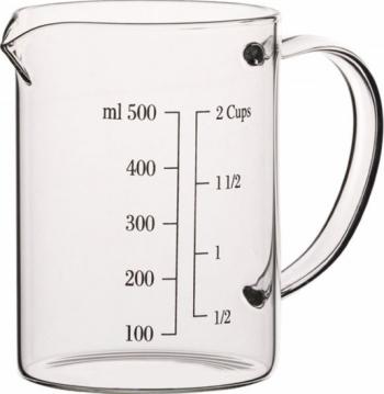 Cana gradata de masurare din sticla borosilicata 500 ml transparent