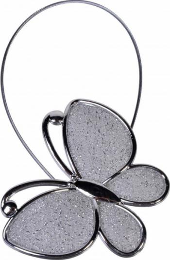 Cordon de strangere pentru draperie sau perdea cu magnet model fluture argintiu Pufo