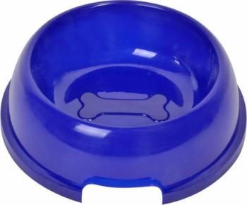 Recipient bol de apa sau mancare pentru pisici sau caini Pufo Blue 20 cm albastru