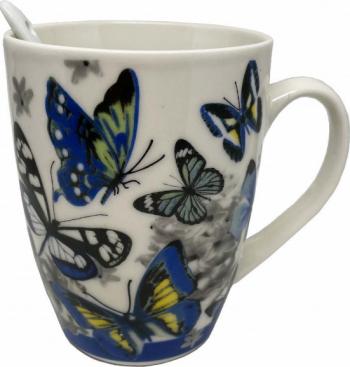 Cana ceramica pentru cafea sau ceai cu lingurita model Blue Butterfly 11 cm