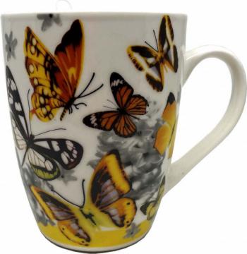 Cana ceramica pentru cafea sau ceai cu lingurita model Orange Butterfly 11 cm