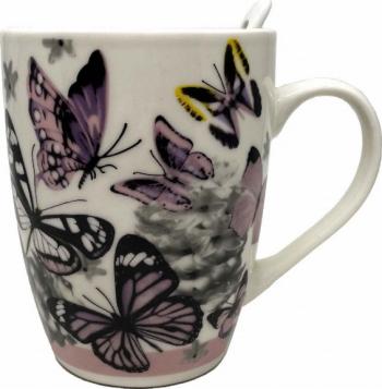 Cana ceramica pentru cafea sau ceai cu lingurita model Purple Butterfly 11 cm