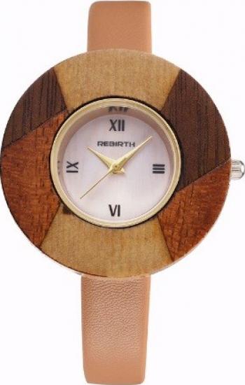 Ceas elegant de dama Rebirth cadran lemn model deosebit maro deschis