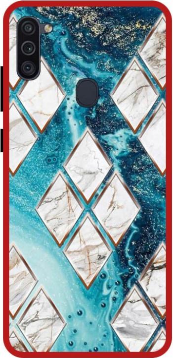 Husa Premium Spate Upzz Pro Anti Shock Compatibila Cu Samsung Galaxy M11 Model Marble 1 Rama Rosie