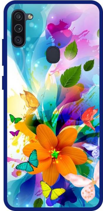 Husa Premium Spate Upzz Pro Anti Shock Compatibila Cu Samsung Galaxy M11 Model Painted Butterflies 2 Rama Albastra