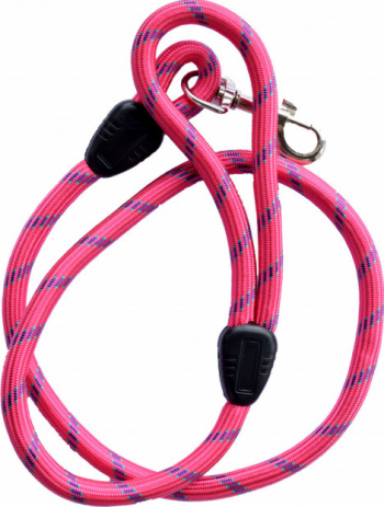 Lesa cordelina Pufo confortabila pentru caini 115 cm sistem carabina cu vartej roz