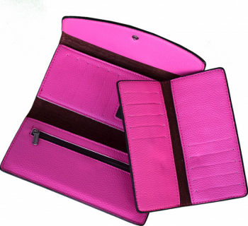 Portofel elegant de dama cu suport detasabil de bancnote si carduri roz