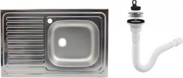 Chiuveta masca inox cuva dreapta Raulconstruct 80x50 cm + sifon de scurgere G207