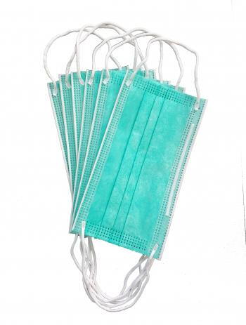 Set 50 bucati Masca chirurgicala medicala 3 straturi si 3 pliuri BFE99 Tip II adulti - Verde/Alb