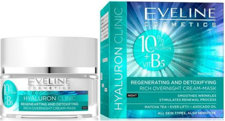 Crema-masca de noapte Eveline Cosmetics Hyaluron Clinic 50 ml