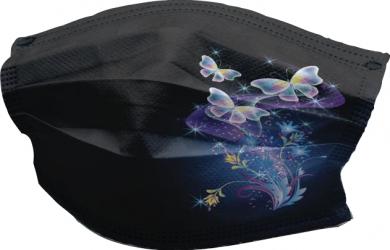 Set de 10 masti faciale de unica folosinta fashion negre cu fluturasi