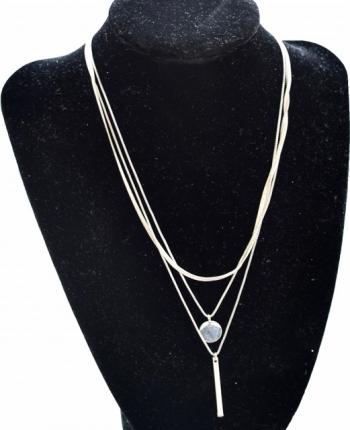 Colier triplu cu medalion in forma de banut si pandantiv bagheta argintiu