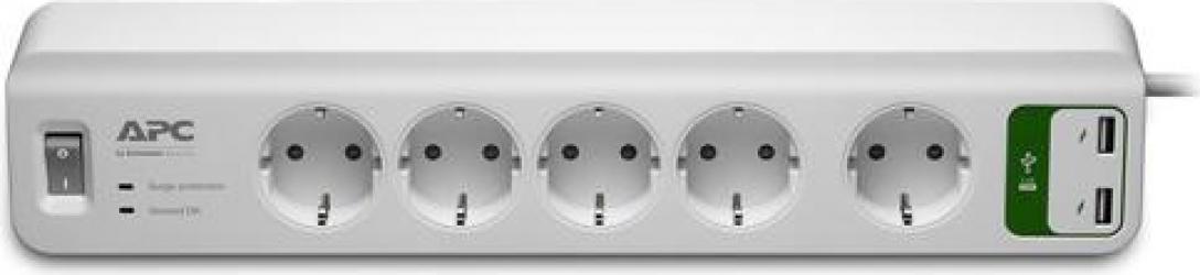Prelungitor APC cu protectie 5 prize Schuko cablu and le 2.0m 2 porturi USB alb
