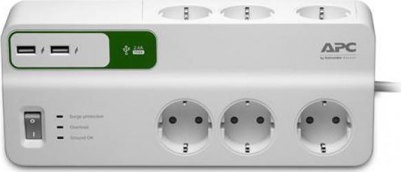 Prelungitor APC cu protectie 6 prize Schuko cablu and le 2.0m 2 porturi USB alb