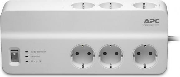 Prelungitor APC cu protectie 6 prize Schuko cablu and le 2.0m alb