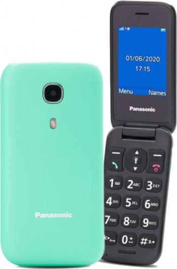 Telefon mobil Panasonic GSM KX-TU400EXC Single SIM Tehnologie 2 G memorie Ram 1 Gb Buton SOS Verde ideal pentru seniori